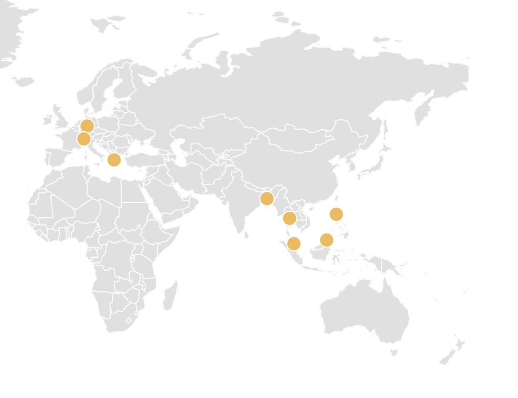 ヨーロピアン・ウェルネス・インターナショナル・グループの世界各地のヘルスセンター